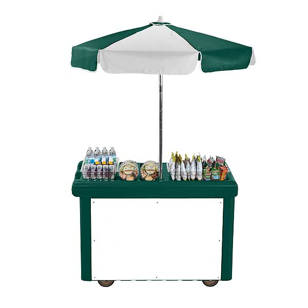 Cambro Camcruiser Vending Cart 55-3/16-inches X 31-1/4-inches X 93-1/2-inches H (1) Full Size Counter Top Well With White Polyethylene Cutting Board - CVC55519