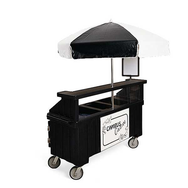 Cambro Camcruiser Vending Cart 74-1/2-inches X 31-3/4-inches X 94-inches H (3) Full Size Counter Top Wells - CVC72110
