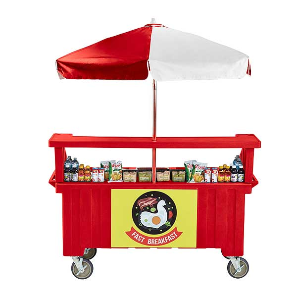 Cambro Camcruiser Vending Cart 74-1/2-inches X 31-3/4-inches X 94-inches H (3) Full Size Counter Top Wells - CVC72158