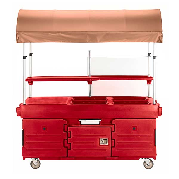 Cambro CamKiosk Cart With 4 Pan Wells And Beige Canopy 85-1/8-inches X 33-1/2-inches X 94-inches - KVC854C158