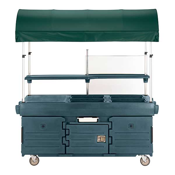 Cambro CamKiosk Cart With 4 Pan Wells And Kentucky Green Canopy 85-1/8-inches X 33-1/2-inches X 94-inches - KVC854C192