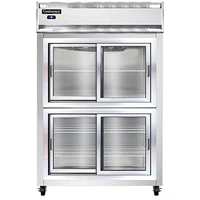 Continental Refrigerator Reach-In Display, Stainless Front with Glass Sliding Half Doors - 2R-SGD-HD