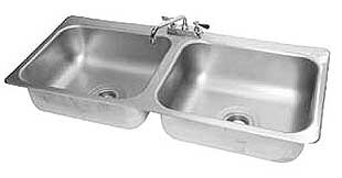 Advance Tabco Stainless Drop In Sink 2 Compartment 20x16x8 Bowls