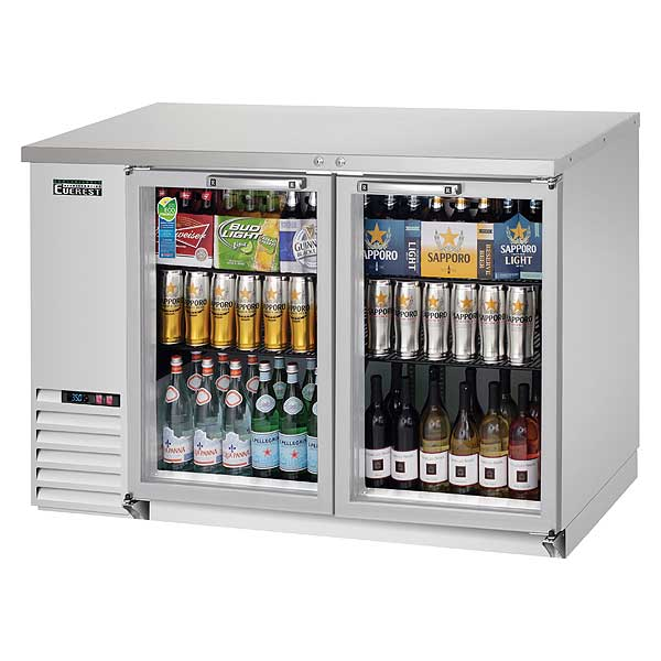 """Everest Back Bar Refrigerator Two-section 49""""W - EBB48G-SS"""