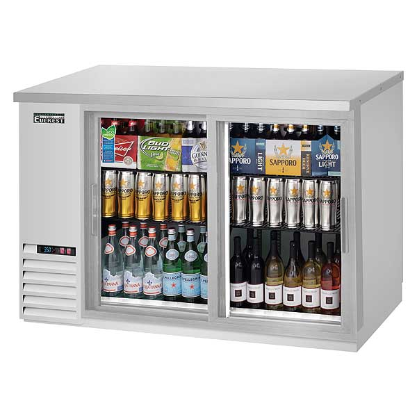 """Everest Back Bar Refrigerator Two-section 49""""W - EBB48G-SD-SS"""