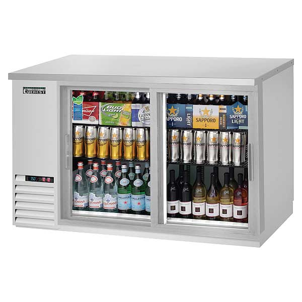 """Everest Back Bar Refrigerator Two-section 57-3/4""""W - EBB59G-SD-SS"""