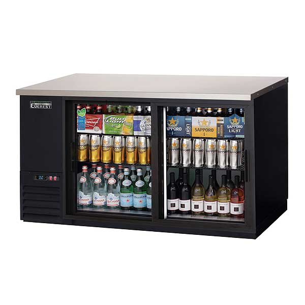 """Everest Back Bar Refrigerator Two-section 68""""W - EBB69G-SD"""