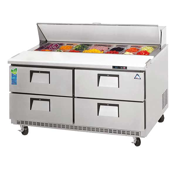 """Everest Drawered Sandwich Prep Table Two-section 47-1/2""""W - EPBNR2-D4"""