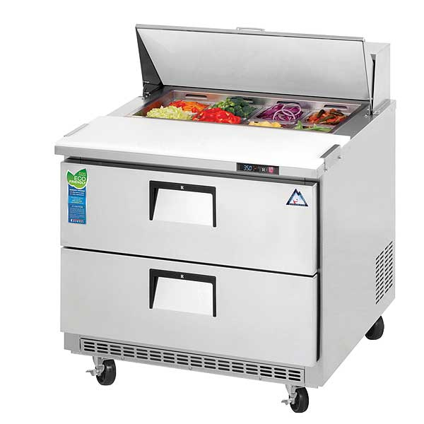 """Everest Drawered Sandwich Prep Table One-section 35-5/8""""W - EPBNSR2-D2"""