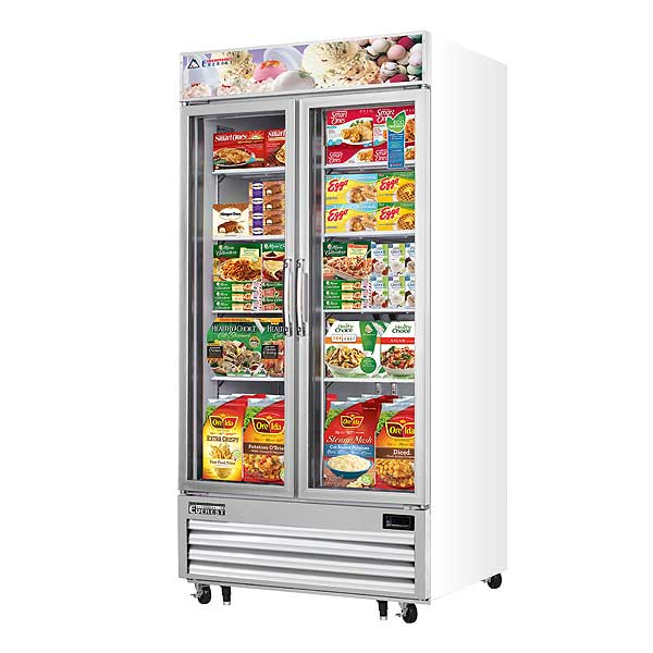 "Everest Reach-In Glass Door Merchandiser Freezer Two-section 41""W - EMGF36"