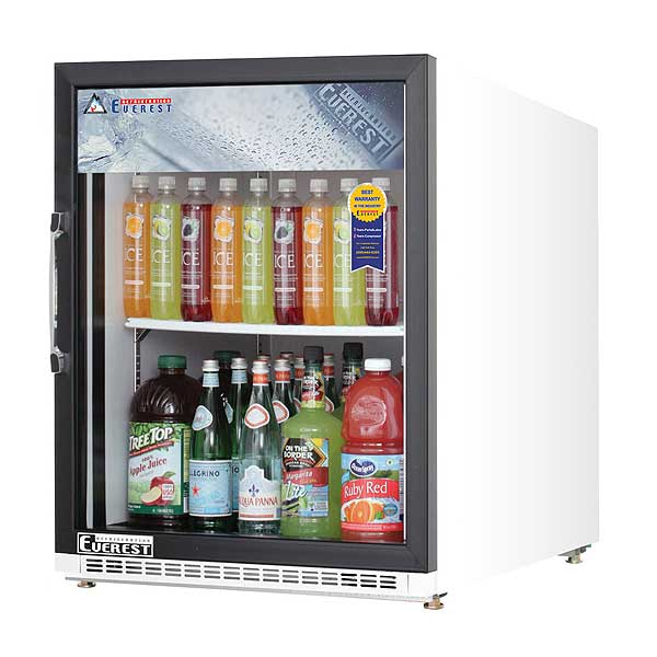 "Everest Reach-In Glass Door Merchandiser Refrigerator One-section 25""W - EMGR5"