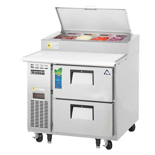 """Everest Drawered Pizza Prep Table One-section 35-5/8""""W - EPPR1-D2"""