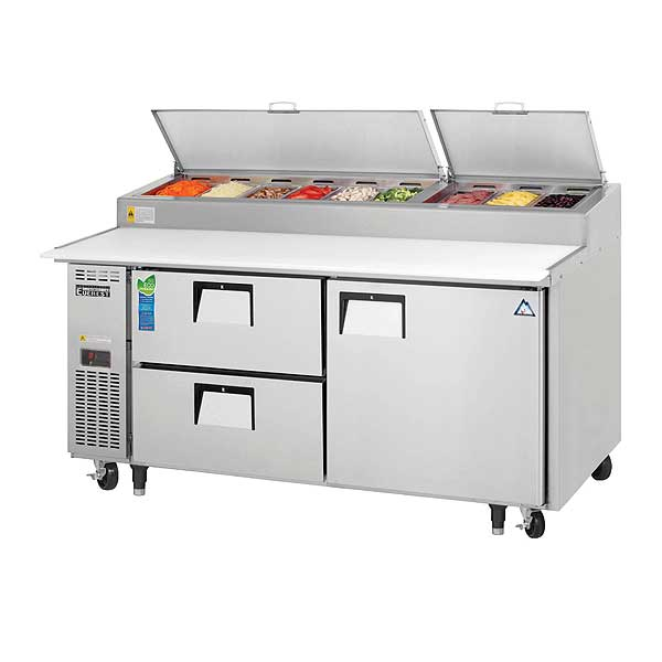 """Everest Drawered Pizza Prep Table Two-section 71""""W - EPPR2-D2"""