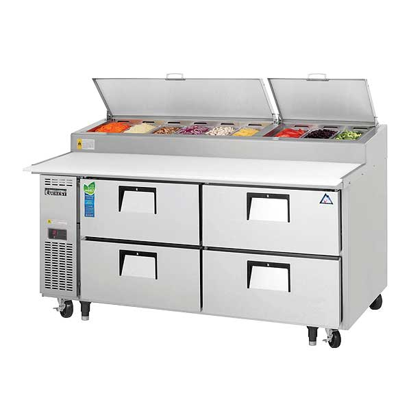 """Everest Drawered Pizza Prep Table Two-section 71""""W - EPPR2-D4"""