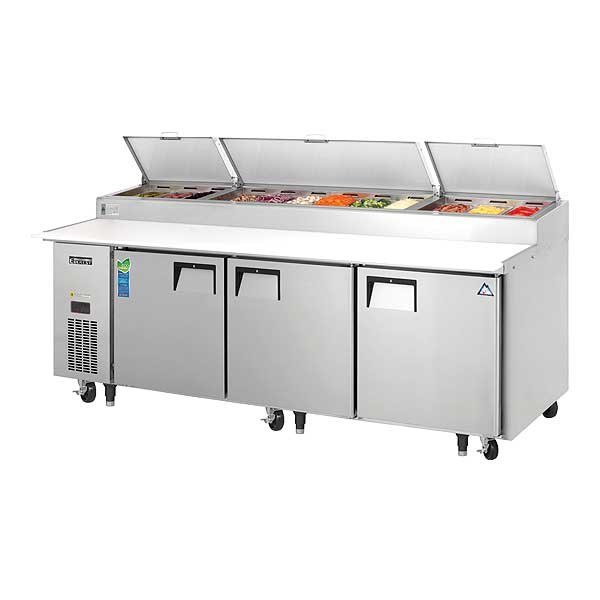 """Everest Pizza Prep Table Three-section 93-1/8""""W - EPPR3"""