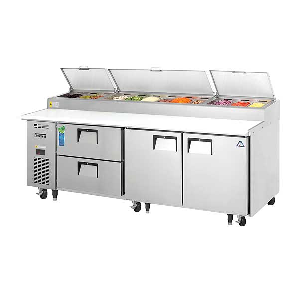 """Everest Drawered Pizza Prep Table Three-section 93-1/8""""W - EPPR3-D2"""