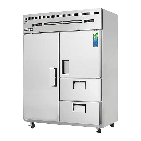 """Everest Reach-In Dual Temperature Refrigerator/Freezer Combo Two-section 59""""W - ESWQ2D2"""