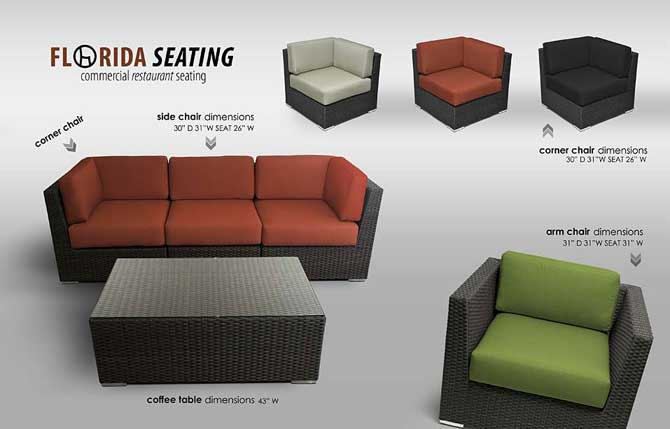 Commercial Hotel Restaurant Seating Outdoor Sofa Units