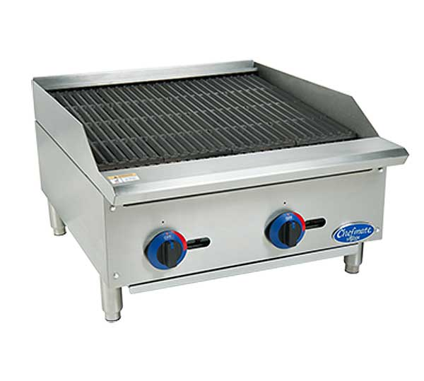 "Globe Chefmate 24"" Gas Charbroiler 10 Gauge Stainless Steel Radiant Lift Off Cooktop - C24CB-SR"