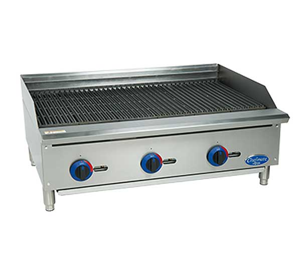 "Globe Chefmate 36"" Gas Charbroiler 10 Gauge Stainless Steel Radiant Lift Off Cooktop - C36CB-SR"