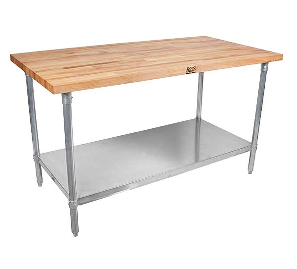 Maple Top Work Table With Stainless Steel Base
