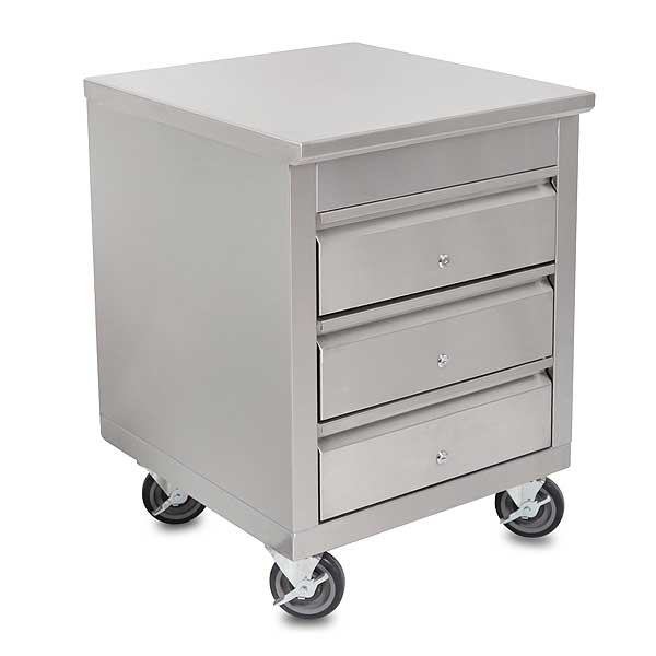 """John Boos Mobile Drawer Cabinet 24""""W X 26-1/2""""D X 33-3/4""""H 14/300 Stainless Steel Flat Top - 4CD4-2724-CL-X"""