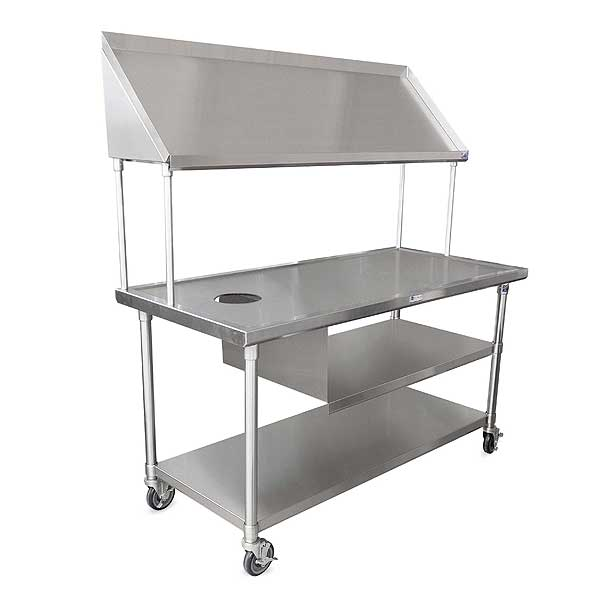 """John Boos Mobile Sorting Table 63"""" W X 30""""D 16/300 Stainless Steel Flat Top With Marine Edge - BT6-3063SSK-X"""