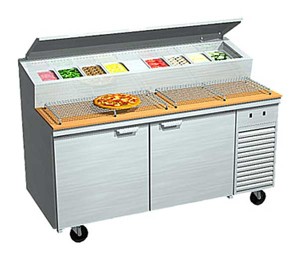 LaRosa Refrigerated Pizza Prep Table Two-section With Doors Self-contained – 2067-PTB