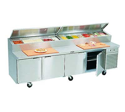 La Rosa Refrigerated Pizza Prep Table Four-section With Doors Self-contained - 2510-PTB