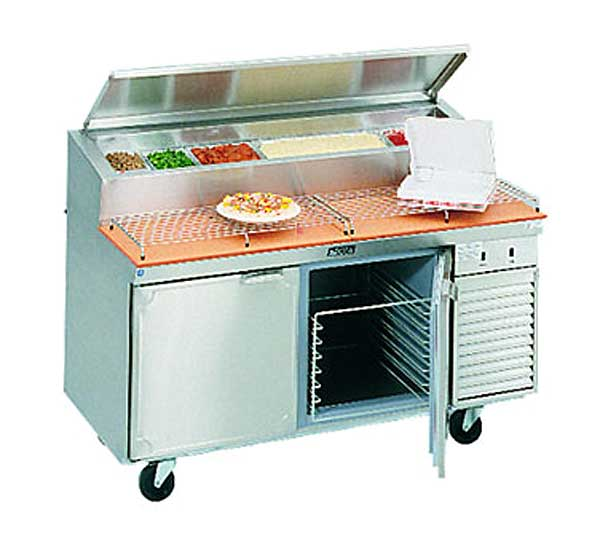 LaRosa Refrigerated Pizza Prep Table Two-section With Doors Self-contained - 2562-PTB