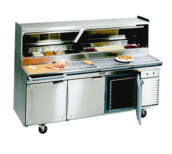 LaRosa Refrigerated Pizza Prep Table Three-section With Doors Self-contained - 2586-PTB