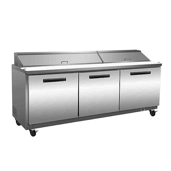 "Maxx Cold X-Series 72"" Sandwich & Salad Station 18 Cu. Ft. Storage Capacity Three-section - MXCR72S"