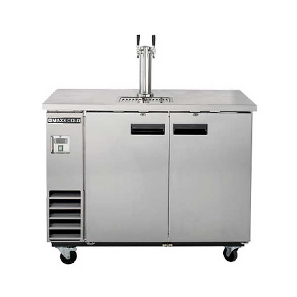 MaxxCold Maxx Cold X-Series Keg Cooler with Single Tower & Dual Faucets Two-section Self-contained - MXBD48-1S