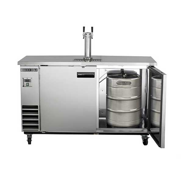 MaxxCold Maxx Cold X-Series Keg Cooler with Single Tower & Dual Faucets Two-section Self-contained - MXBD60-1S