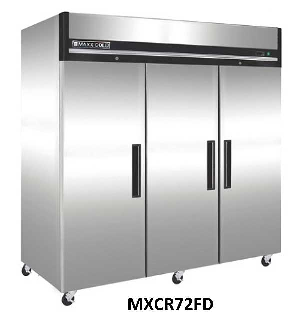 MaxxCold Reach-in Refrigerator, 3 sections MXCR-72FD