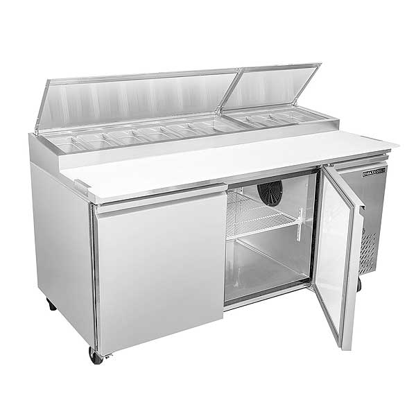 """Maxx Cold Select Series Refrigerated Pizza Prep Table Two-section 71""""W - MXSPP70HC"""