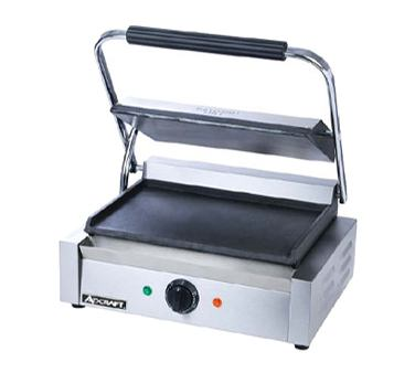 Adcraft SG-811E/F Sandwich Panini Grill, Grooved Flat Cast Iron Plate