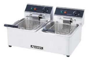 Adcraft Dual Tank Electric Countertop 2 Basket Fryer
