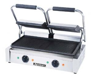 Adcraft SG-813 Double Sandwich Grill, Grooved Cast Iron Plates