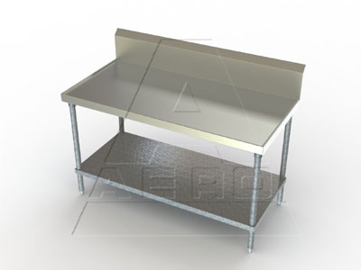 Aerospec Stainless Tables with Galvanized Legs and Shelf, 10 Inch Splash