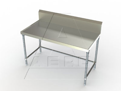 Aerospec 1TGBX Stainless Tables with 10 Inch Splash, Galvanized Legs and Crossbracing