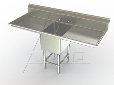 Aerospec 2F1 Single Bowl Sinks with Two Drainboards