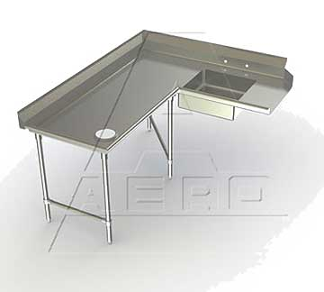 Aerospec Soiled Left Dishtables - 2SDC-L