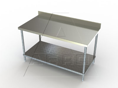 Aero 3TGB Deluxe SS Tables with 4 Inch Backsplashes and Galvanized Shelves