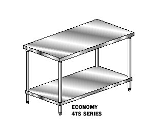 Aero Economy Work Tables - 4TS Series Flat Top and Stainless Undershelf
