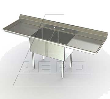 Aero Deluxe 2 Bowl Sinks with Two Drainboards - 3F2 Series