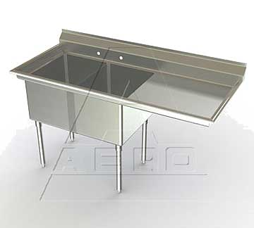 Aero Deluxe Two Bowl Sinks with Right Drainboard