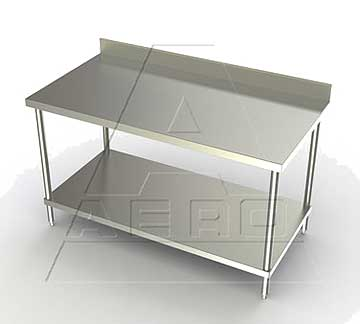 Aero 3TSB Deluxe Stainless Table with Backsplash, SS Legs and Shelf