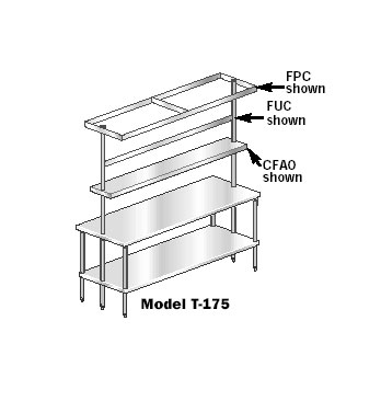 Aero Adjustable Overshelf center table mounted - CFAO-12144