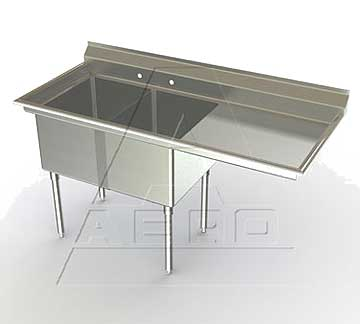 Aero Two Bowl Economy MF2 Sinks with Right Drainboards